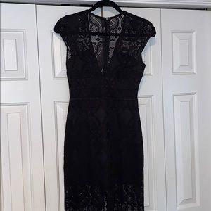 Formal black lace maxi wedding guest dress